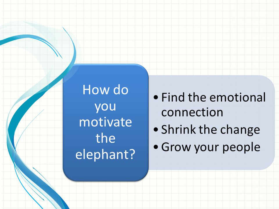 Find the emotional connection Shrink the change Grow your people How do you motivate the elephant