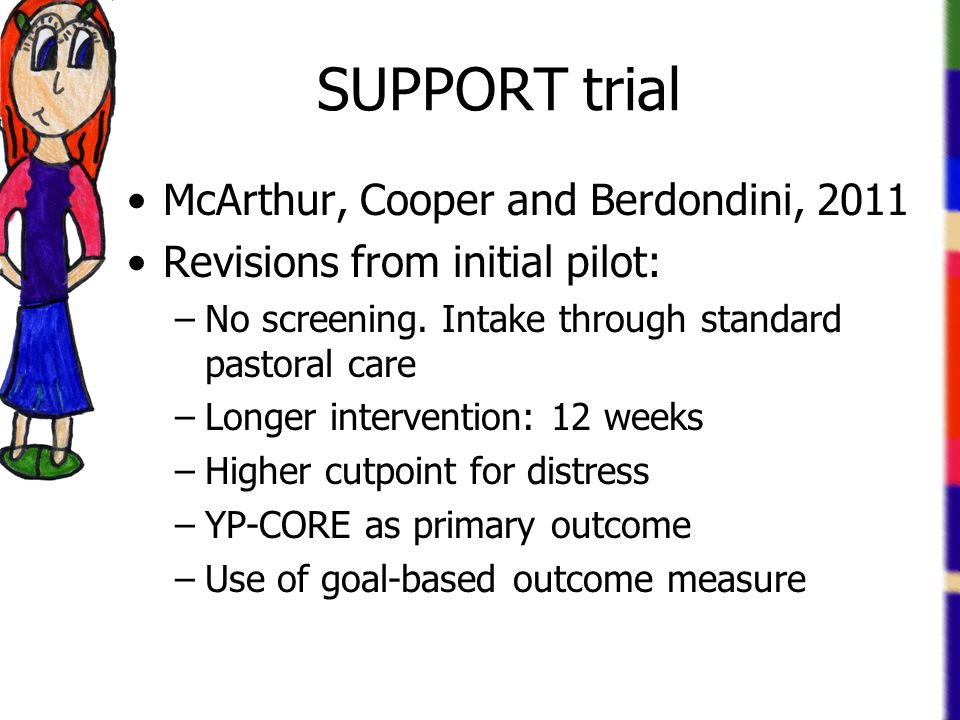 SUPPORT trial McArthur, Cooper and Berdondini, 2011 Revisions from initial pilot: –No screening.