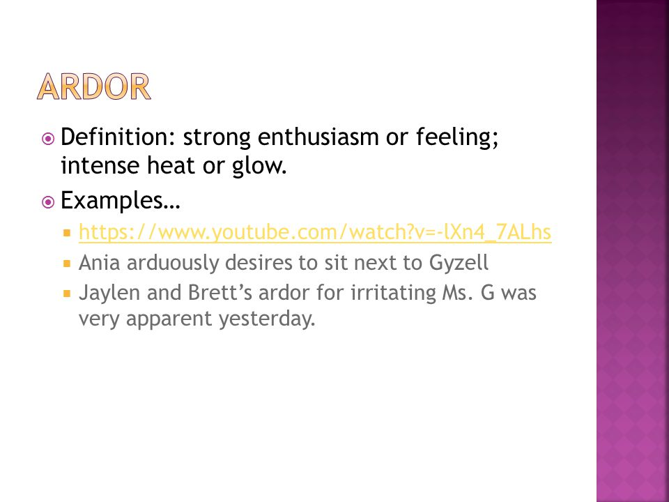  Definition: strong enthusiasm or feeling; intense heat or glow.