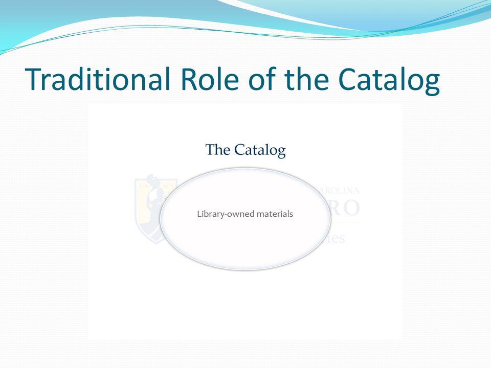 Traditional Role of the Catalog