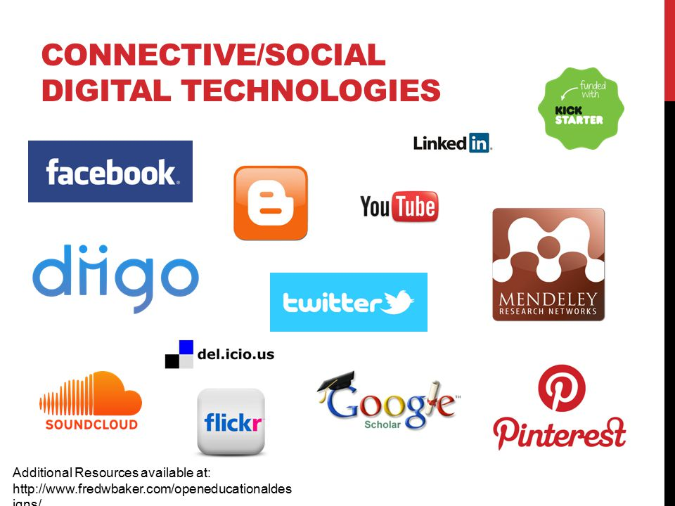 CONNECTIVE/SOCIAL DIGITAL TECHNOLOGIES Additional Resources available at: http://www.fredwbaker.com/openeducationaldes igns/