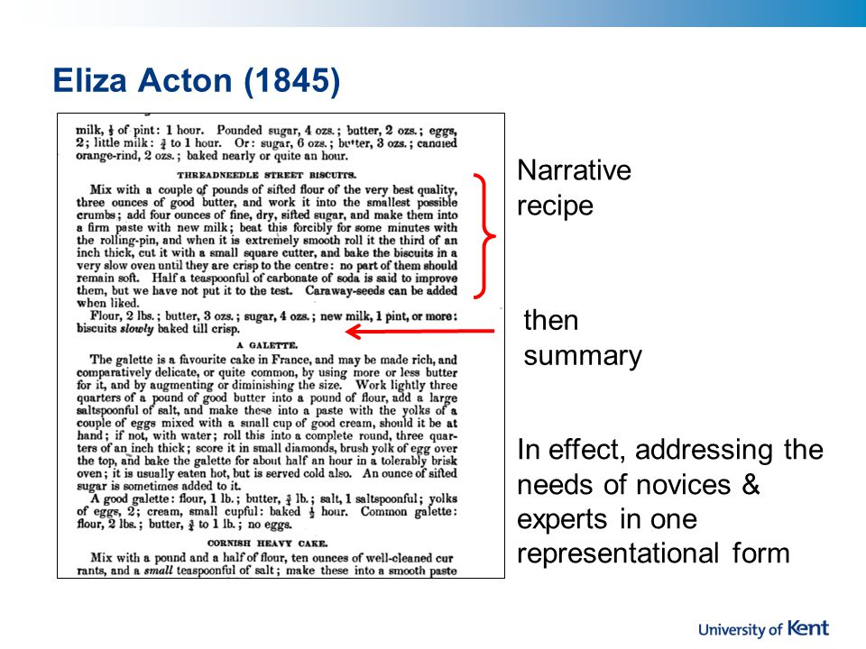 Eliza Acton (1845) Narrative recipe then summary In effect, addressing the needs of novices & experts in one representational form