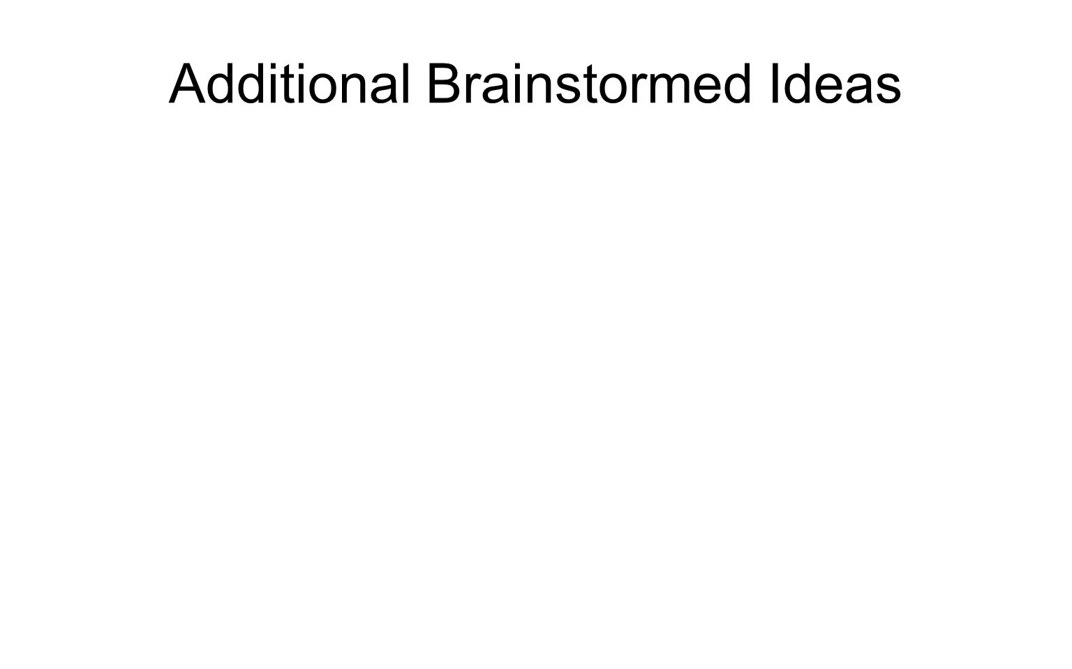 Additional Brainstormed Ideas