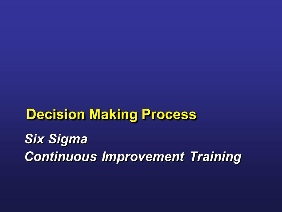 Six Sigma Continuous Improvement Training Six Sigma Continuous Improvement Training Decision Making Process