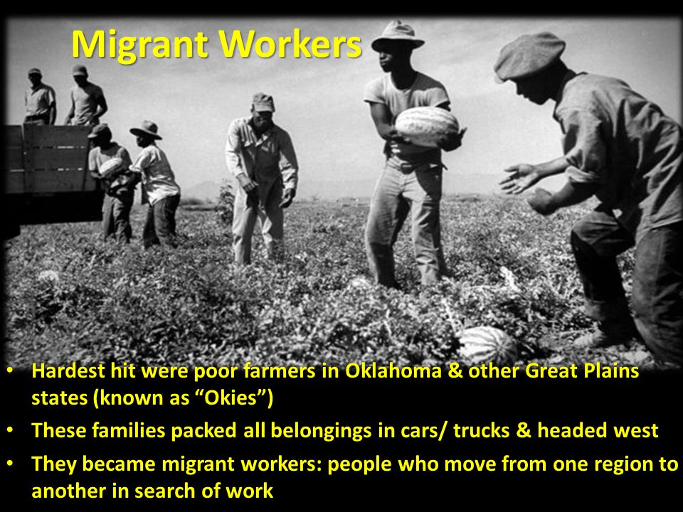 Hardest hit were poor farmers in Oklahoma & other Great Plains states (known as Okies ) Hardest hit were poor farmers in Oklahoma & other Great Plains states (known as Okies ) These families packed all belongings in cars/ trucks & headed west These families packed all belongings in cars/ trucks & headed west They became migrant workers: people who move from one region to another in search of work They became migrant workers: people who move from one region to another in search of work Migrant Workers