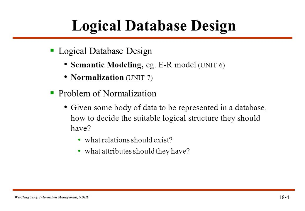 Wei-Pang Yang, Information Management, NDHU 18-15 Normal Forms: 1NF  Def: A relation is in 1NF iff all underlying simple domains contain atomic values only.