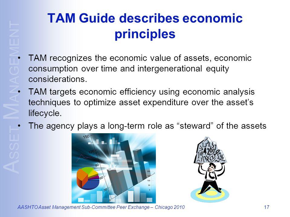 A SSET M ANAGEMENT AASHTO Asset Management Sub-Committee Peer Exchange – Chicago 201017 TAM Guide describes economic principles TAM recognizes the eco