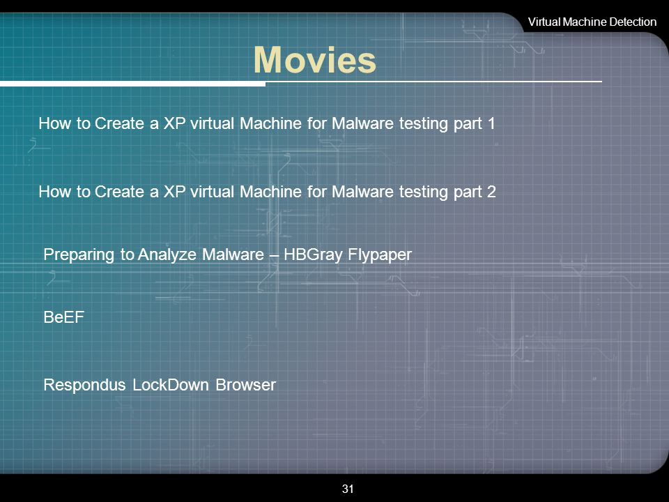 Movies Virtual Machine Detection 31 How to Create a XP virtual Machine for Malware testing part 1 How to Create a XP virtual Machine for Malware testi