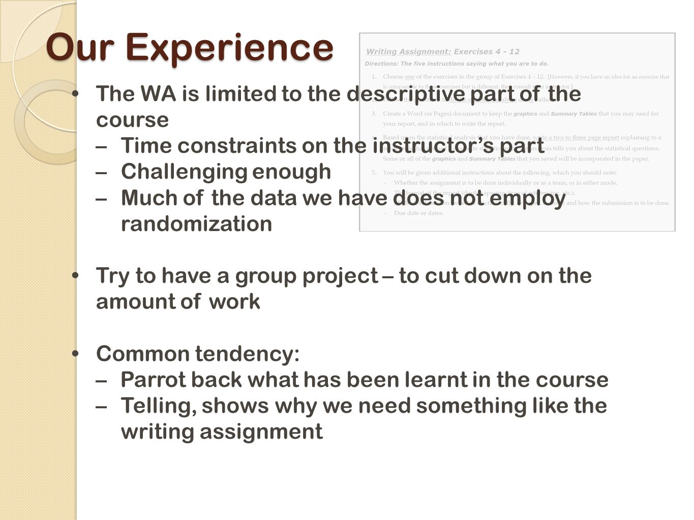 Our Experience The WA is limited to the descriptive part of the course –Time constraints on the instructor's part –Challenging enough –Much of the data we have does not employ randomization Try to have a group project – to cut down on the amount of work Common tendency: –Parrot back what has been learnt in the course –Telling, shows why we need something like the writing assignment