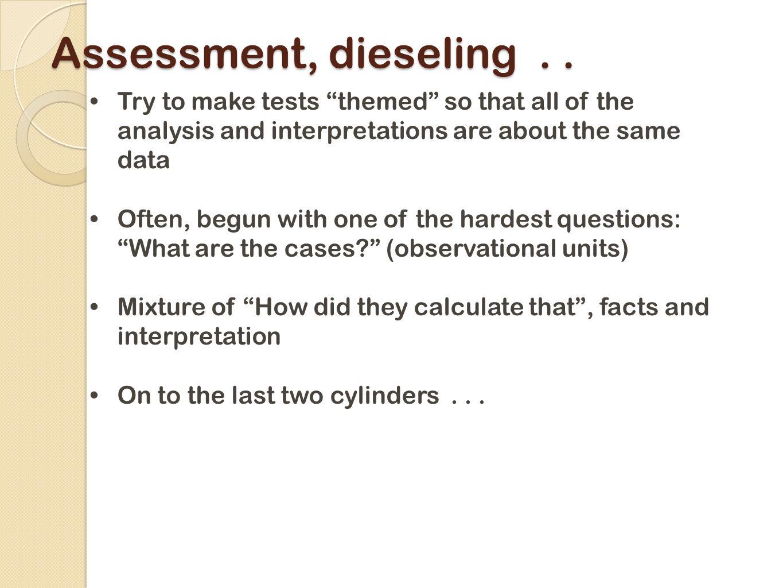 Assessment, dieseling..