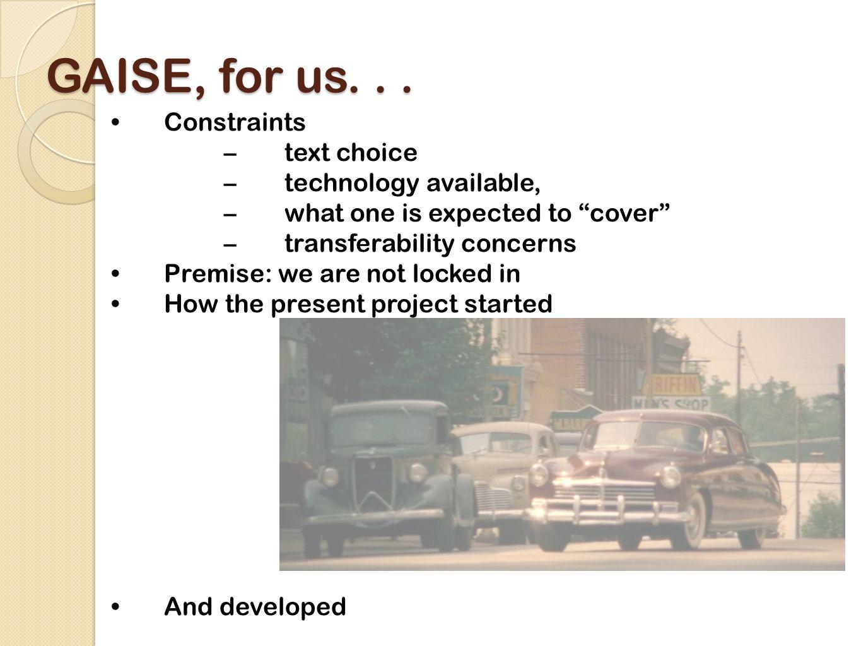 Goals for the presentation...