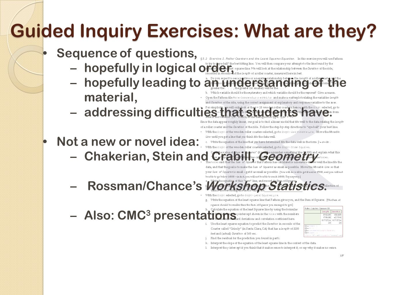 Guided Inquiry Exercises: What are they.