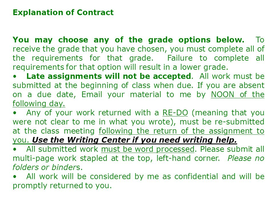 Explanation of Contract You may choose any of the grade options below.