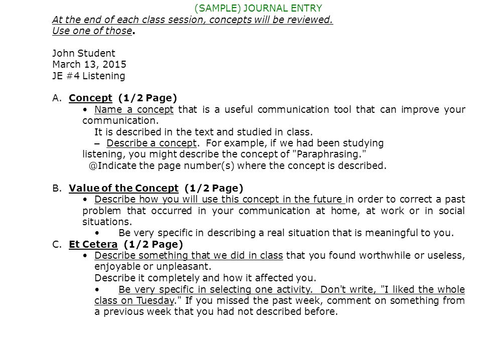 CMST 10 (SAMPLE) JOURNAL ENTRY At the end of each class session, concepts will be reviewed.