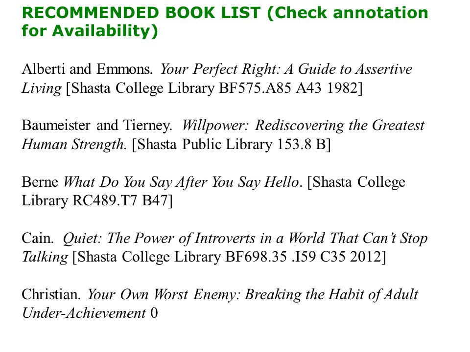 CMST 10 RECOMMENDED BOOK LIST (Check annotation for Availability) Alberti and Emmons.