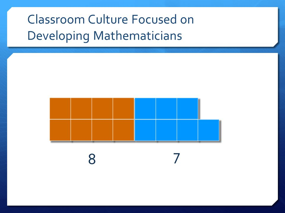Classroom Culture Focused on Developing Mathematicians 8 7