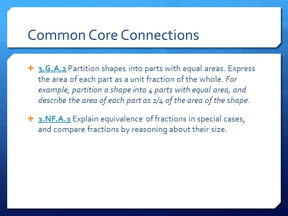 Common Core Connections  3.G.A.2 Partition shapes into parts with equal areas.