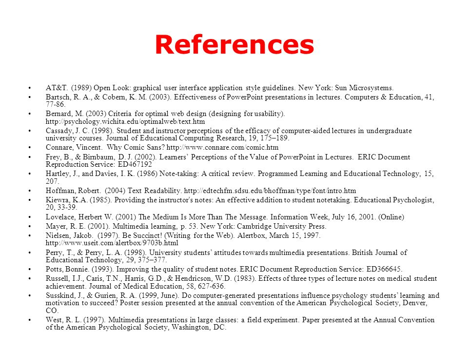 References The references that follow are formatted for printing, not for on-screen display.
