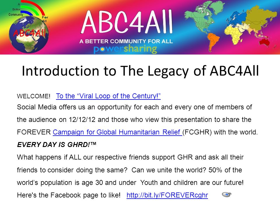 Introduction to The Legacy of ABC4All WELCOME.