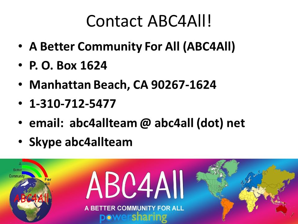 Contact ABC4All. A Better Community For All (ABC4All) P.