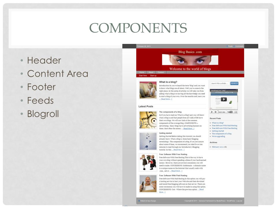 COMPONENTS Header Content Area Footer Feeds Blogroll