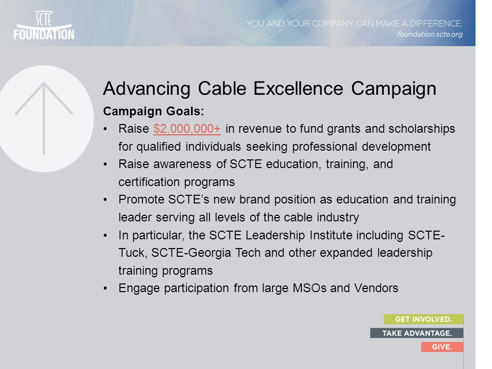 Advancing Cable Excellence Campaign Campaign Goals: Raise $2,000,000+ in revenue to fund grants and scholarships for qualified individuals seeking pro