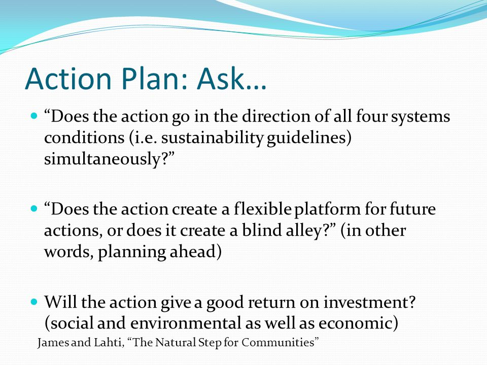 "Action Plan: Ask… ""Does the action go in the direction of all four systems conditions (i.e. sustainability guidelines) simultaneously?"" ""Does the acti"