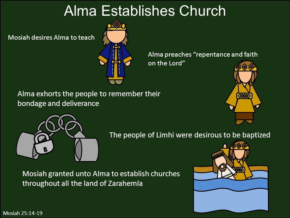"Alma preaches ""repentance and faith on the Lord"" Alma Establishes Church Mosiah 25:14-19 Mosiah desires Alma to teach Alma exhorts the people to remem"