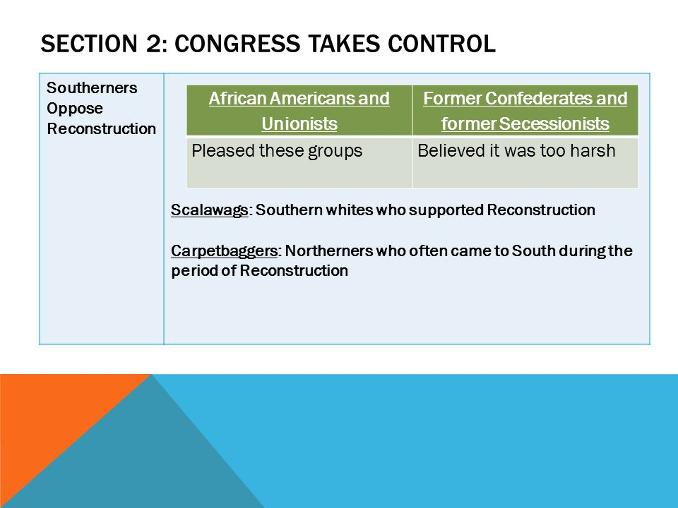 SECTION 2: CONGRESS TAKES CONTROL Southerners Oppose Reconstruction Scalawags: Southern whites who supported Reconstruction Carpetbaggers: Northerners