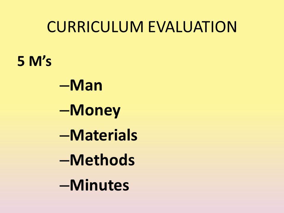 CURRICULUM EVALUATION 5 M's – Man – Money – Materials – Methods – Minutes