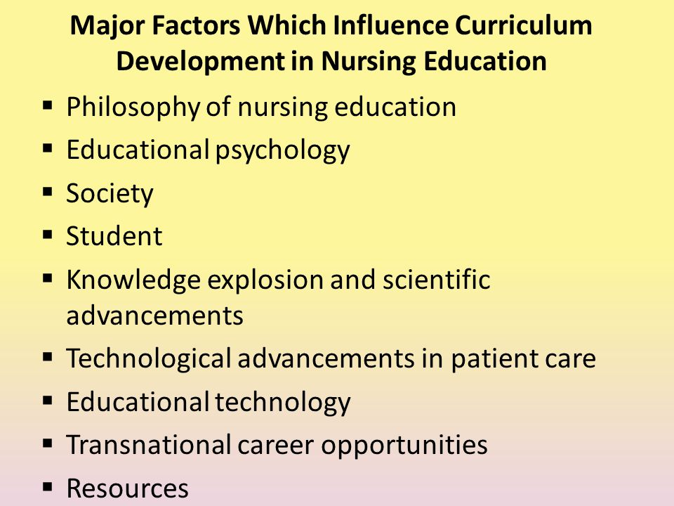 Major Factors Which Influence Curriculum Development in Nursing Education  Philosophy of nursing education  Educational psychology  Society  Stude
