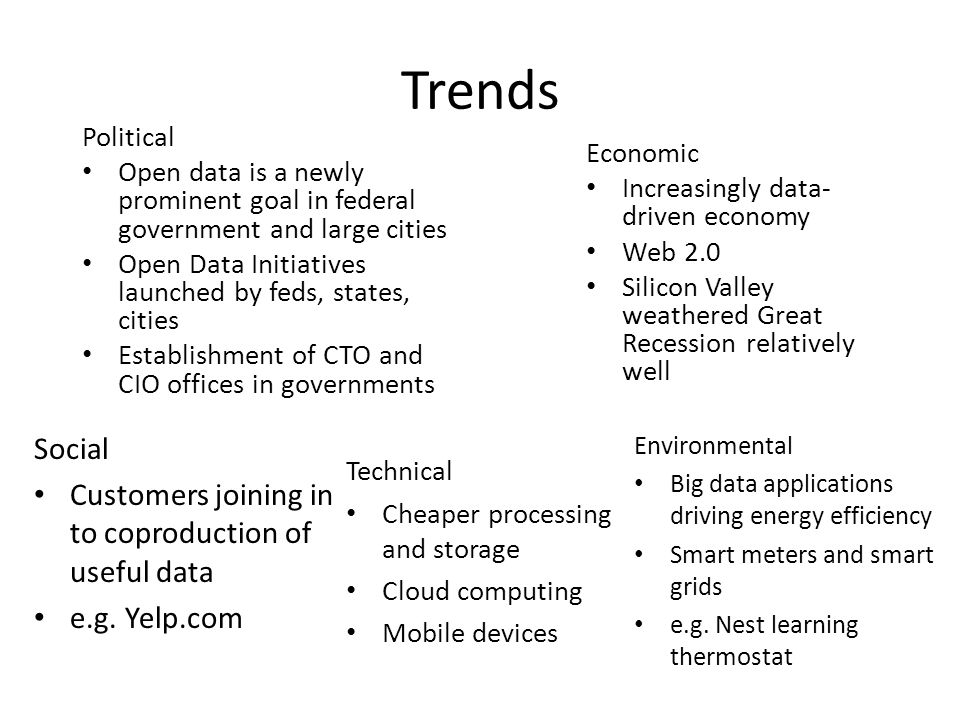 Trends Political Open data is a newly prominent goal in federal government and large cities Open Data Initiatives launched by feds, states, cities Establishment of CTO and CIO offices in governments Economic Increasingly data- driven economy Web 2.0 Silicon Valley weathered Great Recession relatively well Social Customers joining in to coproduction of useful data e.g.