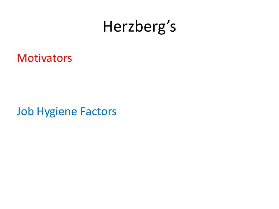 Herzberg's Motivators Job Hygiene Factors