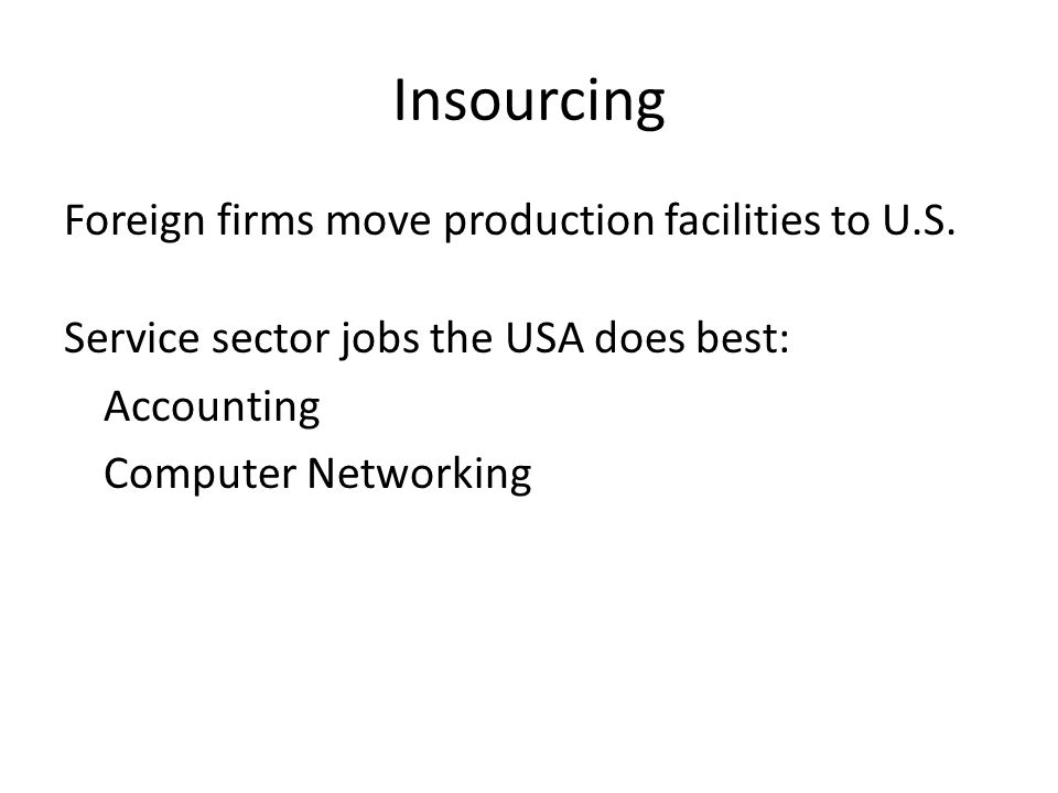 Insourcing Foreign firms move production facilities to U.S.