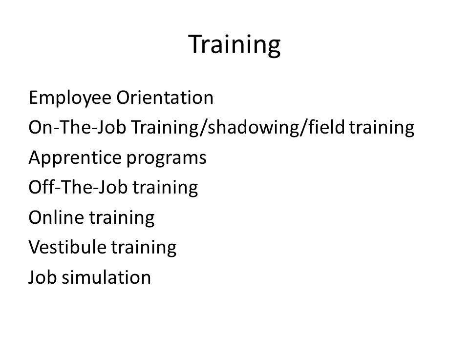 Training Employee Orientation On-The-Job Training/shadowing/field training Apprentice programs Off-The-Job training Online training Vestibule training Job simulation