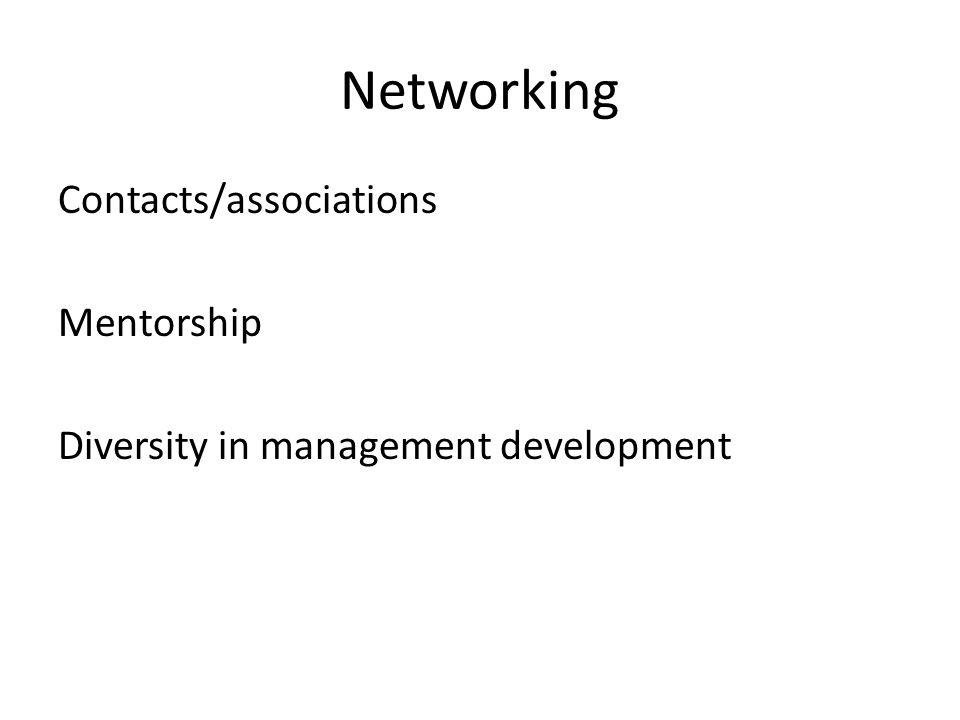 Networking Contacts/associations Mentorship Diversity in management development