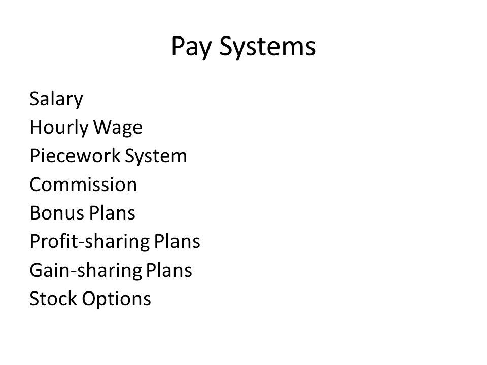Pay Systems Salary Hourly Wage Piecework System Commission Bonus Plans Profit-sharing Plans Gain-sharing Plans Stock Options