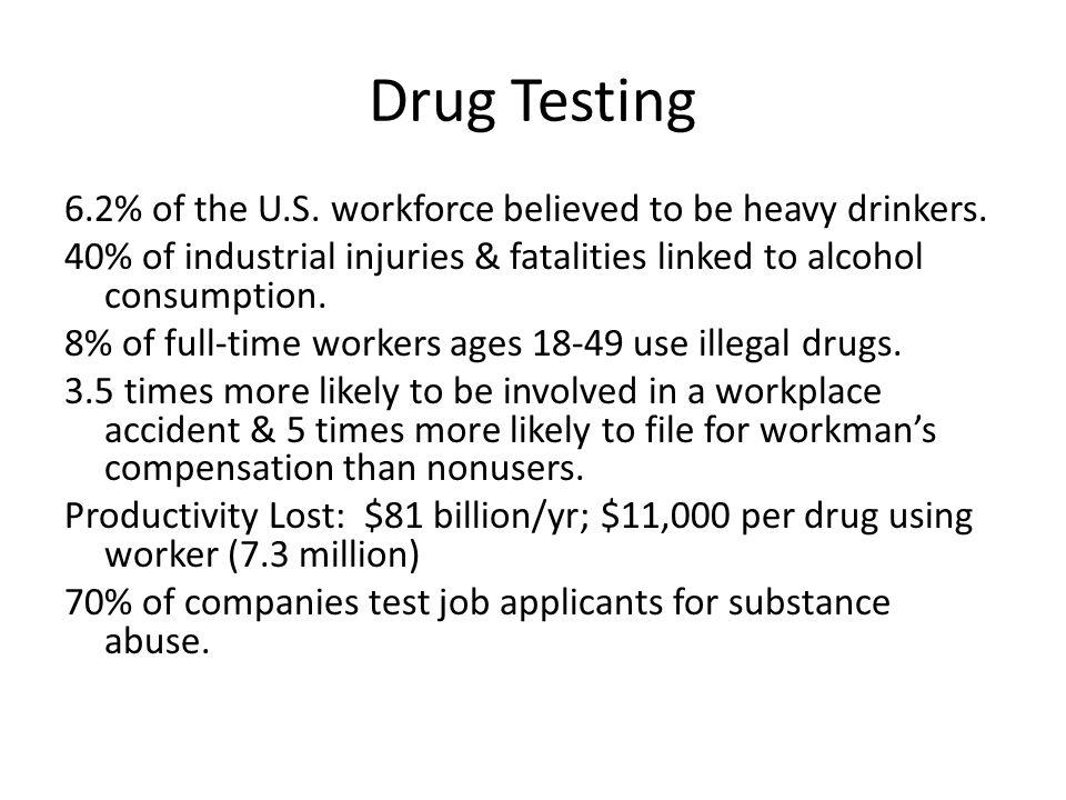 Drug Testing 6.2% of the U.S. workforce believed to be heavy drinkers.