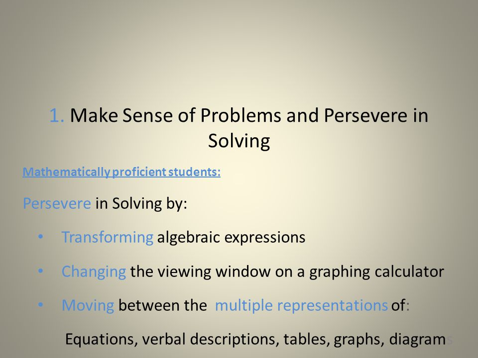 Standards for Mathematical Practice Describe ways in which student practitioners of the discipline of mathematics increasingly ought to engage with the subject matter as they grow in mathematical maturity