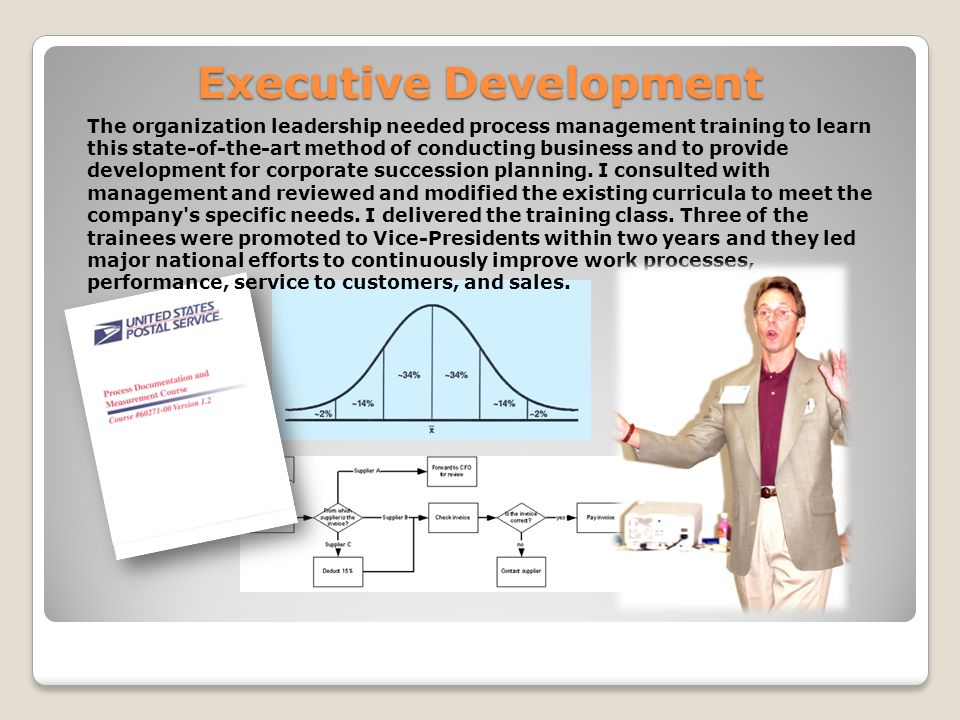 Executive Development The organization leadership needed process management training to learn this state-of-the-art method of conducting business and to provide development for corporate succession planning.