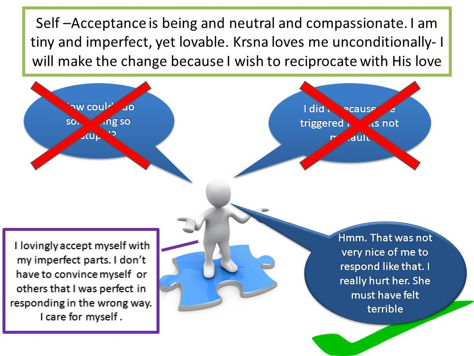 Self –Acceptance is being and neutral and compassionate.
