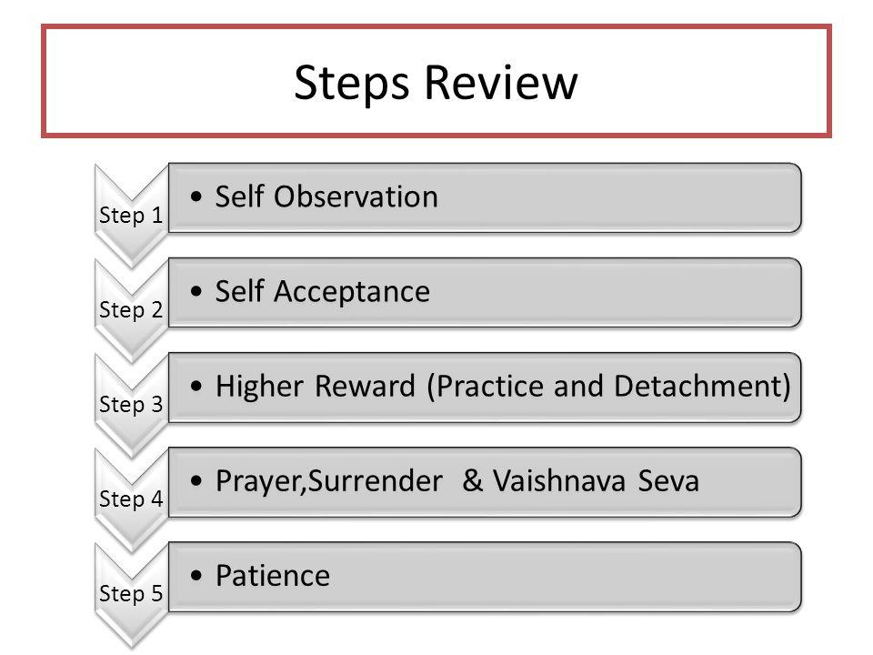 Steps Review Step 1 Self Observation Step 2 Self Acceptance Step 3 Higher Reward (Practice and Detachment) Step 4 Prayer,Surrender & Vaishnava Seva St