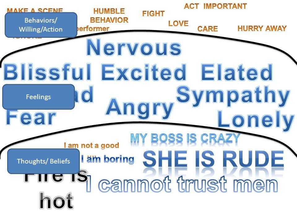 Thoughts/ Beliefs Feelings Behaviors/ Willing/Action