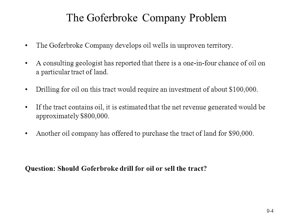 The Goferbroke Company Problem The Goferbroke Company develops oil wells in unproven territory.