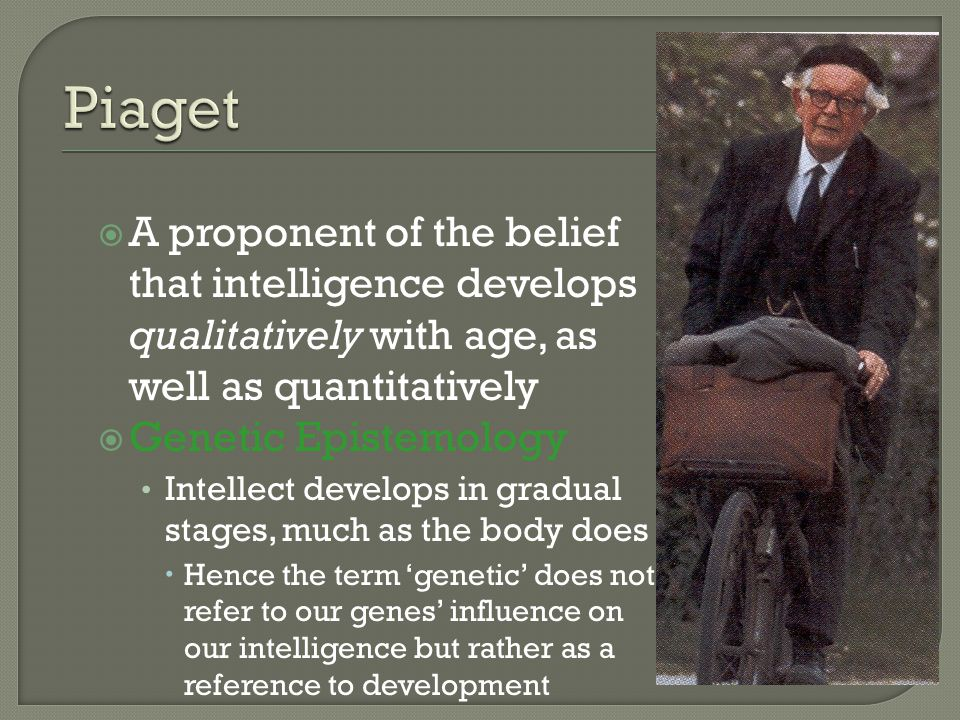  A proponent of the belief that intelligence develops qualitatively with age, as well as quantitatively  Genetic Epistemology Intellect develops in gradual stages, much as the body does  Hence the term 'genetic' does not refer to our genes' influence on our intelligence but rather as a reference to development