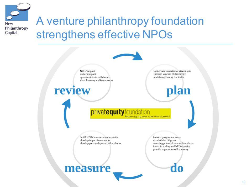 13 A venture philanthropy foundation strengthens effective NPOs