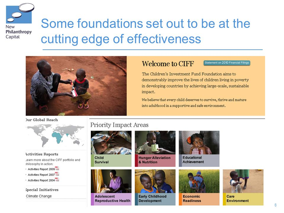 8 Some foundations set out to be at the cutting edge of effectiveness