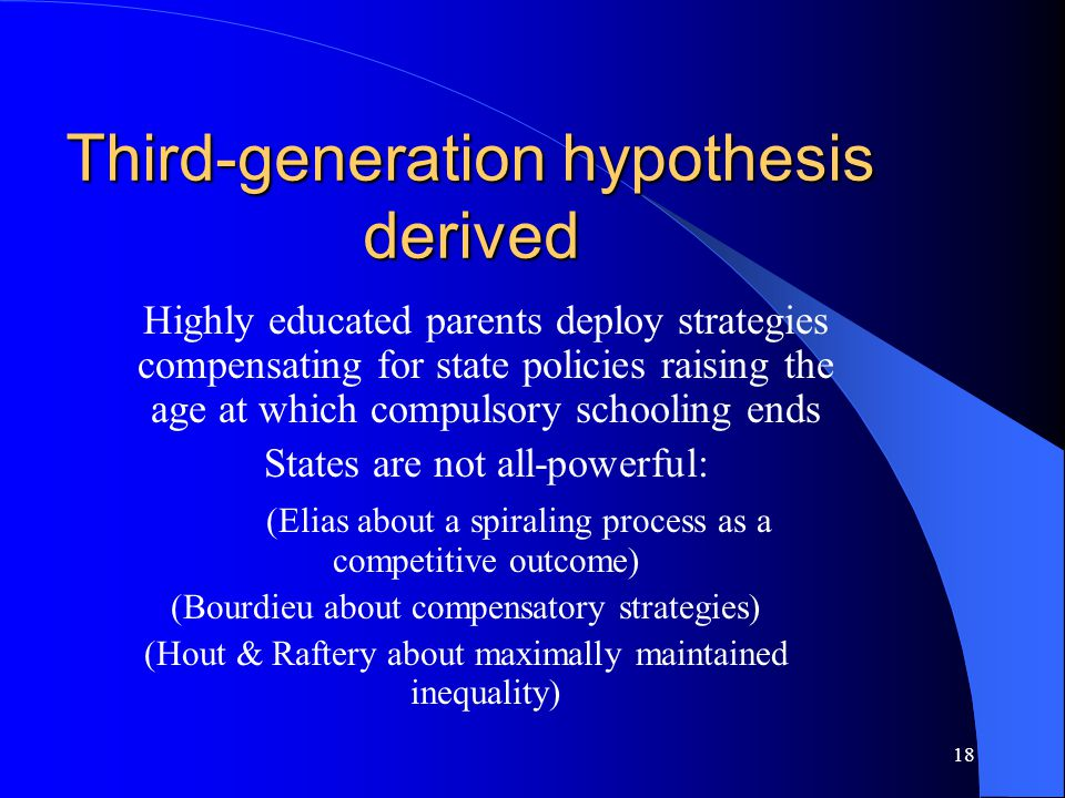 18 Third-generation hypothesis derived Highly educated parents deploy strategies compensating for state policies raising the age at which compulsory schooling ends States are not all-powerful: (Elias about a spiraling process as a competitive outcome) (Bourdieu about compensatory strategies) (Hout & Raftery about maximally maintained inequality)