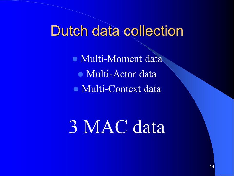44 Dutch data collection Multi-Moment data Multi-Actor data Multi-Context data 3 MAC data