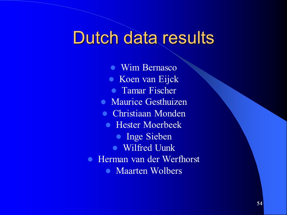 54 Dutch data results Wim Bernasco Koen van Eijck Tamar Fischer Maurice Gesthuizen Christiaan Monden Hester Moerbeek Inge Sieben Wilfred Uunk Herman van der Werfhorst Maarten Wolbers